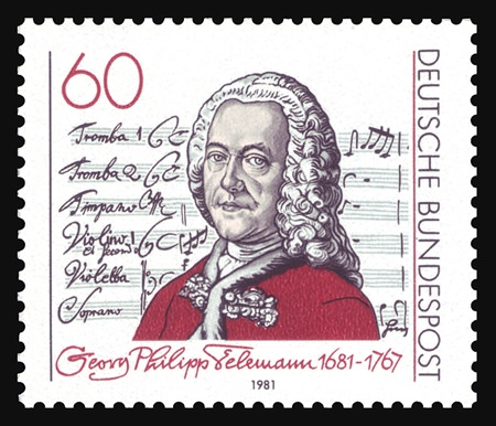 Telemann's image on a German postage stamp of 1981.