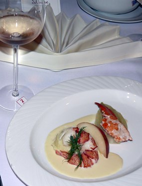 The next course was my favorite of the evening, a lobster poached in fennel with a potato and fennel mousse.