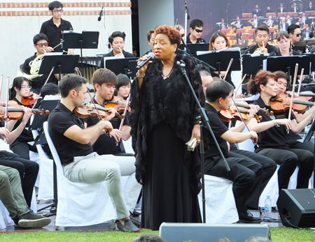 "Cherryl Hayes gave a great rendition of H.M. King Bhumibol's ""Love at Sundown""."