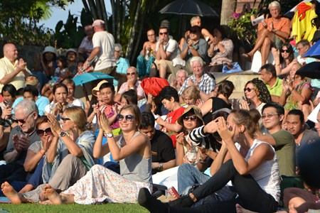 The large crowd of concert goers enjoyed the warm evening sunshine and fantastic live music.
