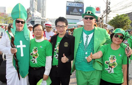 St. Patrick, Father Michael, Rattanachai Sutidechanai, Derrick Kane and Ajima, who organised the parade.