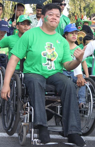 One of the many wheelchair users that joined the march.