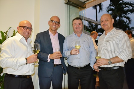 Francis Vanbellen, Managing Director of Padaeng Industry Co., Ltd.; Ben Giles, Counselor (Commercial) and Trade Commissioner of the Australian Embassy Bangkok; Steven Reid from Bilateral Thais Translation Services; and Marc Dehertogh, Director of Faber Flags Asia Co., Ltd.