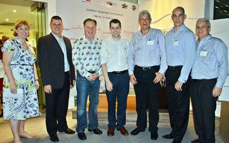 (L to R) Alex Cullum, Executive Director of AustCham; Carl Duggan, General Manager of the Centara Grand Phratamnak Pattaya, Simon Matthews, Chairman of the BCCT; Josh Hyland, Director of the AustCham; Leigh Scott-Kemmis, President of the AustCham; Simon Shale, Company Director of the Visy Packaging (Thailand) Limited; and David R. Nardone, President & CEO of Hemaraj Land and Development.