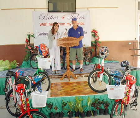 The moment of truth as Rick and a teacher get ready to announce who will receive bikes at Nong Ket Yai School.