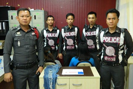 Two teenage girls were arrested in central Pattaya for possession of methamphetamines.
