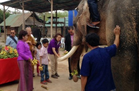 "M.R. Worapapa Jakapan, a descendant of King Rama V, presides over the ""Love Elephants, Love Mahouts"" event at Chi Chan Elephant park on National Elephant Day."