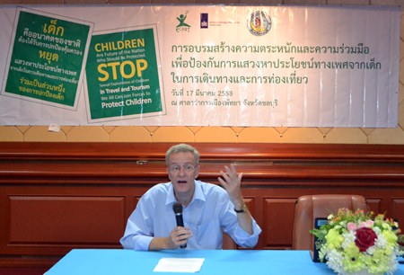 Mark Capaldi, director of the research and policy division at ECPAT, delivers the opening speech at the 'Stop Sexual Exploitation of Children in Travel & Tourism' training seminar.