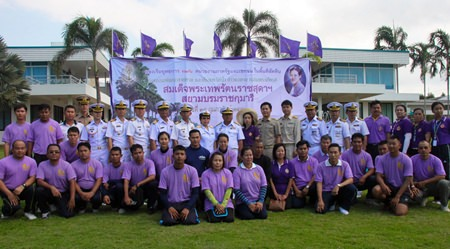 Community minded citizens join sailors and naval officers preparing to hit the beaches for a cleanup in honor of HRH Princess Sirindhorn's 60th birthday.