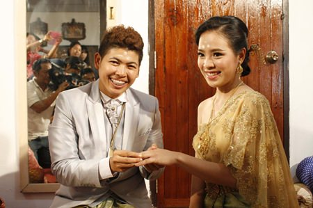 Chanat and Naruemol are married during a ceremony Nong Mamao village.