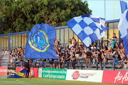 Pattaya United fans cheer the club's largest league win for some time.