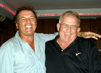 Barry Copestake (right) celebrates his hole in one with friend Thierry Bietry.