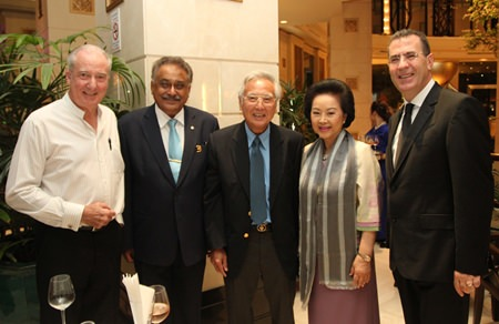 (l-r) Dr. Iain Corness (left) and Pattaya Mail MD Peter Malhotra, Chan Vathanakul, Royal Cliff Hotels Group Managing Director Panga Vathanakul and Acting President of the deVine Wine Club Antonello Passa during the cocktail reception.