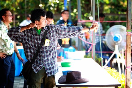 The area's best sharpshooters take aim in the slingshot competition.
