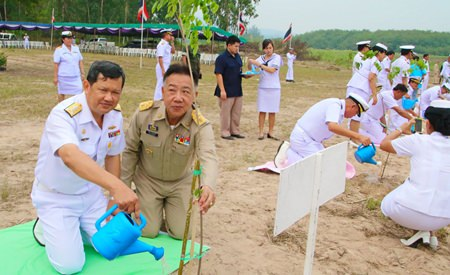 Vice Adm. Wipak Noyjinda helps plant one of the 1,600 Siamese Rosewood trees to honor HRH Princess Sirindhorn for her 60th birthday.