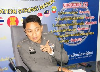 Chonburi Immigration Police Superintendent, Pol. Col. Prapansak Prasarnsuk, provides guidance to his staff on how to better treat foreigners politely while also keeping an eye out for fugitives.