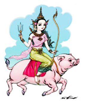 "The Songkran Queen of 2015 ""Ragsotevee"" riding a pig."