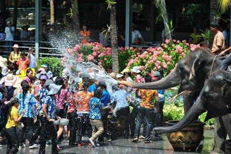 Elephants join the fun as Songkran gets underway at Nong Nooch Tropical Gardens. Closer to home, nearly 700 police, city officials, military, and volunteers will patrol Beach Road as Pattaya's Songkran celebration makes its splashy finale Sunday.