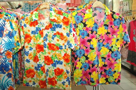 Samples of the colorful flower shirts that are available throughout most local markets in Pattaya.