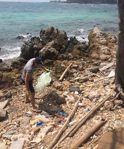 Unfortunately, a lot of trash washes up on the beaches at this beautiful island.