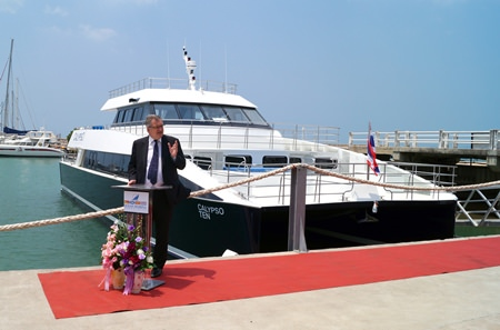 H.E. Paul Robilliad, the Australian Ambassador to Thailand, talks during the official launch ceremony of the Calypso super-catamaran at Ocean Marina Yacht Club in na-Jomtien, Pattaya on March 10.