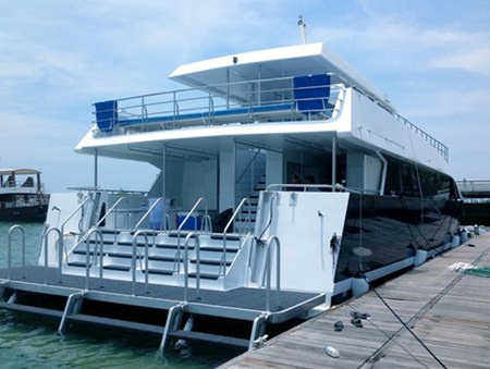 The Calypso can safely carry up to 200 passengers and cruise at a top speed of 28 knots.