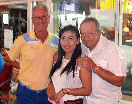 Claude Harder (left) with Pierre and Yui Bietry.