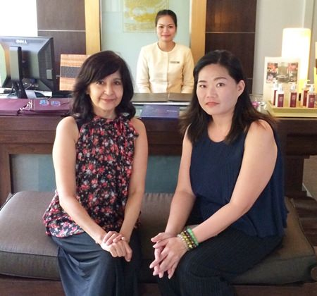 (From right) Alina Nilasrop, Devarana Spa PR and Marketing Manager, Waravat Janduangdaew, and Sue K of Pattaya Mail Media.
