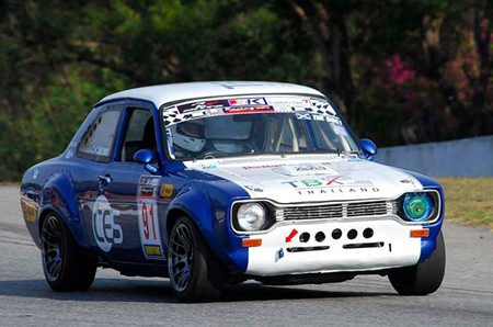 Dr. Iain at the wheel of the 1973 TBX Retro Mk 1 Ford Escort.