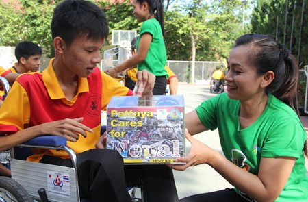 Many students live on a pension of 500 baht per month, and they all dropped money into the box.
