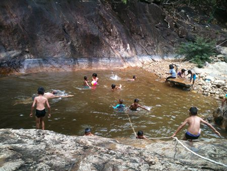 After a twenty minute trek to the Klong Plu Waterfall, the cold pool at the top was very welcoming for everyone.