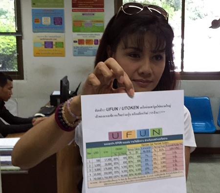 """Former Channel 7 actress Chanita """"Ann"""" Supaphun files her complaint against organizers of the Ufun pyramid scheme."""