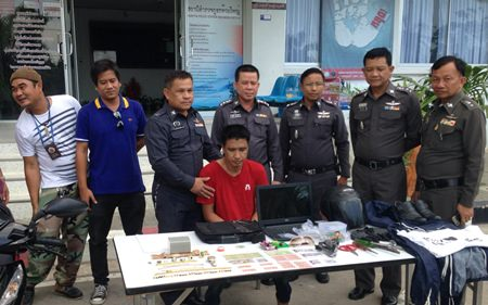 Suwat Pinsuwan has been arrested in connection with a series of burglaries in Pattaya, Ban Chang, and Sattahip.