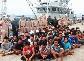 The Thai Navy also impounded the Thai-operated Chokethitiya 99 for illegally net fishing during spawning season, arresting its crew of two Thais, 28 Burmese and 25 Cambodians.
