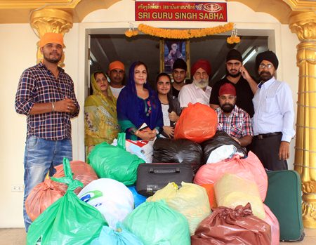 Necessities are assembled at the Sikh Temple in South Pattaya, to send to earthquake victims in Nepal.