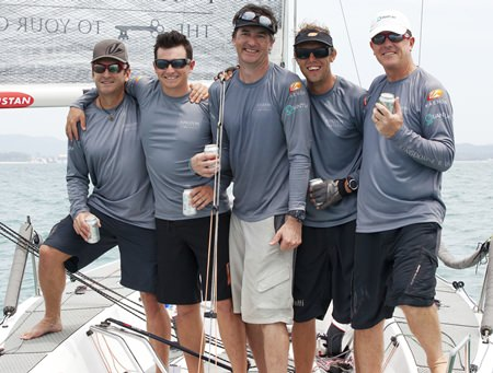 Scott Duncanson (right) and his crew after winning back-to-back Coronation Cup titles at the 2015 Top of the Gulf Regatta.