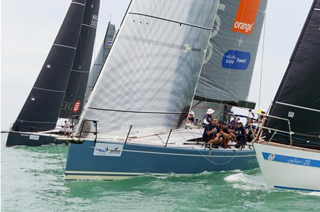 Foxy Lady VI (centre), storms to the front on the final day of the 2015 Top of the Gulf Regatta.