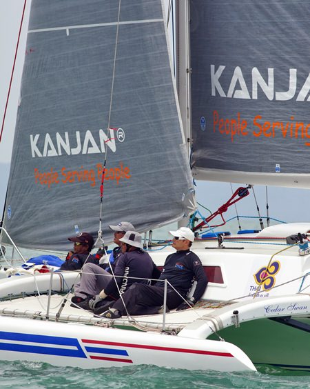 The crew on Cedar Swan took first place in the Ocean Multihulls class.
