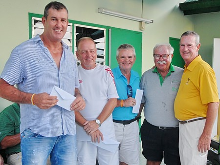 The third placed team, Trevor Loresch, Clive Robinson, Bob Rasmussen and Kris Helgasson collect their prizes.