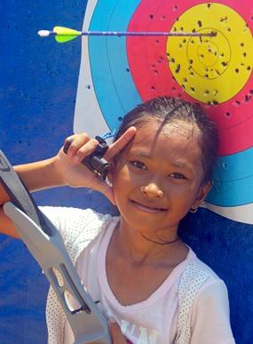 Pem celebrates her first target gold.