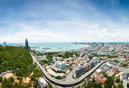 A panoramic view of Pattaya Bay from the 46th floor of the development.