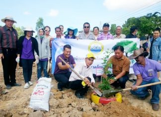 """Deputy Mayor Niyom Thiengtham, municipal officials, and local residents plant trees for the """"one tree per family"""" event to mark World Environment Day."""