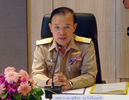 Vice Adm. Suchip Wangmaitri, commander of the First Naval Area Command, addresses the Royal Thai Navy's response to Thai fishing boats being caught fishing illegally in Cambodian waters.