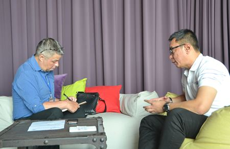 Paul Strachan from Pattaya Mail interviews Malaysia Airlines area manager for Thailand & Indochina, Yurizal Mohammad Yousuf.