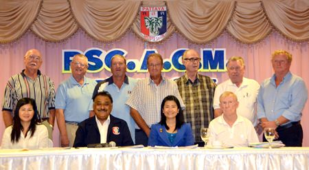 The newly elected PSC Executive Committee: (Seated L-R front row) Ngarmjit 'Noi' Emmerson (Charity Chairperson), Pratheep 'Peter' Malhotra (President), Nantida Thepsai 'Lucky' (Office manager), and Jim Bryan (Treasurer). (Standing L-R back row) Geoff Couch (Registrar), Dick Warberg (Social Chairman), Peter Blackburn (Vice President), Andre Van Dyk (Public Relations), Mike Johnston (Founder's Chair), George Bennison (Secretary) and Maurice Roberts (Golf Chairman).