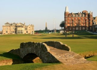 The Swilcan Burn Bridge joining the 1st and 18th fairways on the Old Course at St Andrews.