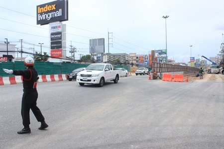 Traffic along Sukhumvit was redirected in July, then reopened, but the detour will return in the same spot Aug. 17-30.