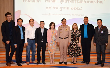 (L to R) Sanphet Suphabuansathien, president of the THA Eastern Thailand, Sinchai Wattanasartsathorn, President of the PBTA, Jaran Chuenaitham, director of the TAT Database Department, Thanet Supornsahatrangsi, Vice President of the Tourism Council of Thailand, Jutaporn Roengronasa, acting TAT governor, Rear Adm. Vasinsan Chantavarin, Suladda Sarutilavan, TAT Pattaya director, Taweepong Wichaidit, General Manager of DASTA, and Komkrit Prasitnarits, Advisor to the Tourism & Sports Committee, line up for a commemorative photo.