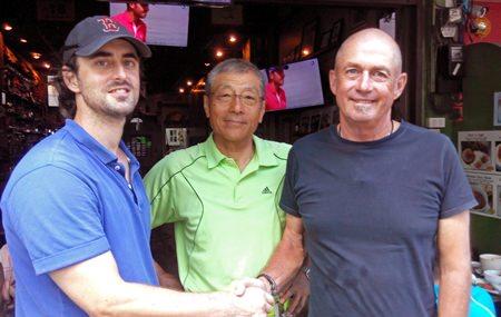 (L-R) Ben Denham, Ishi Ishikawa and TGC's Capt. Phil Smedley après-golf.