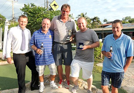 (From left) DeVere sponsor Greg Hirst with Sugar Ray Handford, Bob Mattes, Dave Buchanan and Neil Smith.